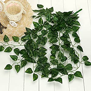 MarryLee 90CM Artificial Hanging Vine Plant Leaves Garland,Green Dill Watermelon Begonia Leaves Rattan Ivy Greenery Fake Flowers,for Wedding Home Wall Outside Festival Decoration 1Pcs