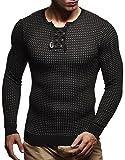 leif nelson maglione uomo girocollo felpa a maglia ln-1605 black-ecru small