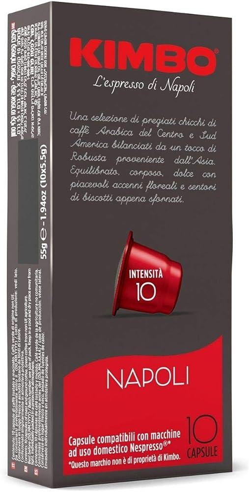 Kimbo, capsule napoli compatibili nespresso, intensità 10/12, 10 astucci da 10 capsule (totale 100 capsule)