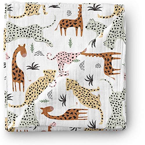Aenne Baby Safari Animals Muslin Swaddle Blanket Gender Neutral Travel Large 47 x 47 inch, 1 Pack, Girl Boy Giraffe, Cheetah, Lion