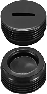 uxcell Carbon Brush Holder Caps 16mm O.D. 9mm I.D. 8mm Thickness Motor Brush Cover Plastic Fitting Thread Black 2pcs