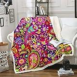 Erosebridal Mandala Plush Blanket Paisley Fuzzy Blanket Bohemian Boho Chic Floral Blanket Colorful Batik Trippy Hippie Style Gypsy Throw Blanket, Twin Warm Soft Sherpa