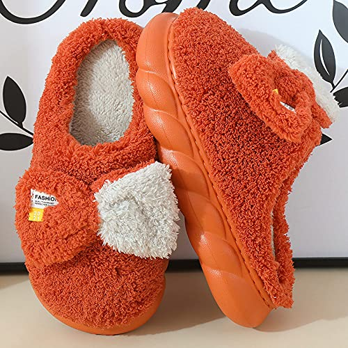 Pantuflas Mujer,Zapatillas para Mujer Invierno Torcido Fondo Grueso Naranja Rizado Felpa Costura Arco Icono Cierre Suave Piso Cálido Zapatillas Mullidas Zapatillas De Espuma Viscoelástica Lavables