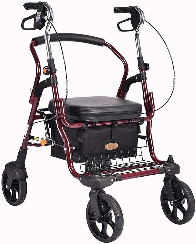 HAO KEAI Andador para Ancianos Walker Indoor Adult Rollator Walker con 4 Ruedas y Asiento Grande for Personas Mayores, Ruedas de 8 Pulgadas, Cesta y Frenos
