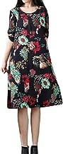 Morecome,2019 Plus Size Women's Long Sleeve Big Flower Unique Print Cotton Linen Loose Long Dress