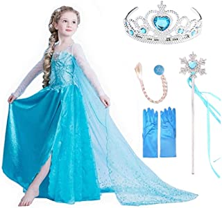 VanStar Snow Queen Princess Dress Kids Costumes Birthday Supplies Girls Party Cosplay Clothes With Wig, Crown, Mace, Glove...