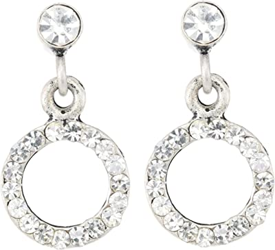 Petites boucles d'oreilles rondes pour femme et fille - Diamètre : 1 cm - Avec pierres de cristal