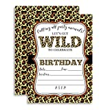 Leopard Print Wild Birthday Party Invitations, 20 5'x7' Fill In Cards with Twenty White Envelopes by AmandaCreation Perfect for Teen and Tween Birthdays, Even Adults!