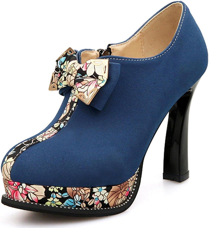 DecoStain Women's Bowtie colorful Ankle High Zipper Pumps
