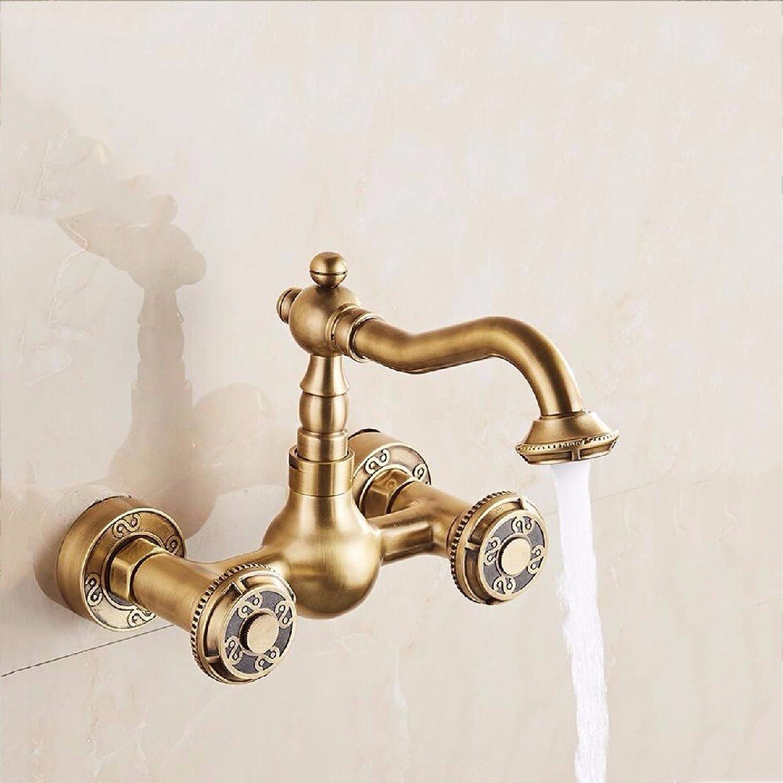 MulFaucet wasserhahn armatur hahn Wasserleitung Faucet Schwarze alte Kupfer-in-Wand Küche hei und kalt Doppelwaschbecken Waschbecken Pool Mischventil B