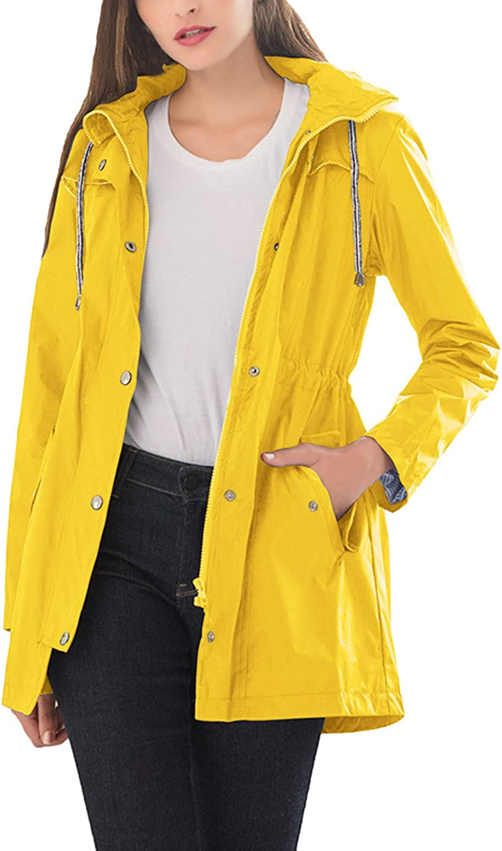 BOXIACEY Women Winter Coat Waterproof Windbreaker Jackets for Outdoor Hiking Trips Solid Hooded Raincoat Outerwear