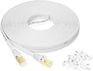 Cat7 Ethernet Cable 15m / 50ft White Flat High Speed 10 Gigabit Shielded Flat Network Wire with Gold-Plated RJ45 Connector...