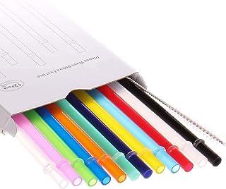 Dakoufish 12 Piece 10 Inch Reusable Plastic Thick Drinking Straws BPA Free Mason Jar Straws Plain Color (10inch,12color)