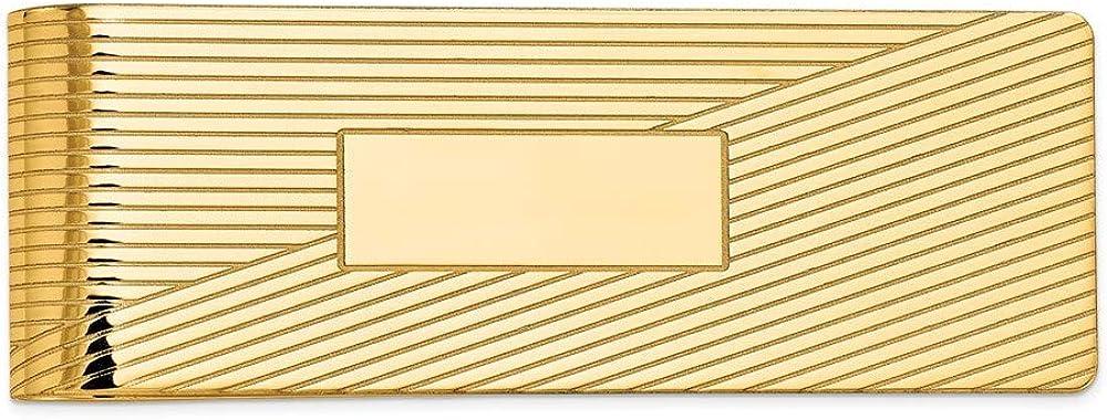 14k Men's Grooved Polished Money Clip 54mm 20mm style MC51
