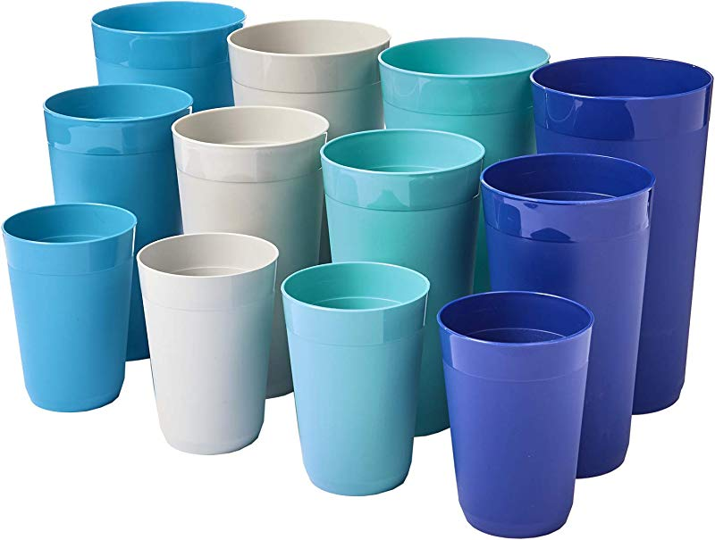 12 Piece Newport Unbreakable Plastic Tumblers Four Each 10 Ounce 20 Ounce And 32 Ounce In 4 Coastal Colors