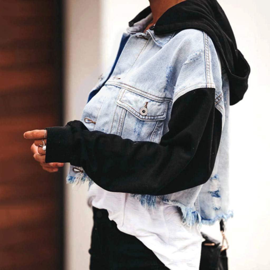 Amober Women Casual Fashion Denim Jacket Long Jean Coat Hooded Outwear Overcoat