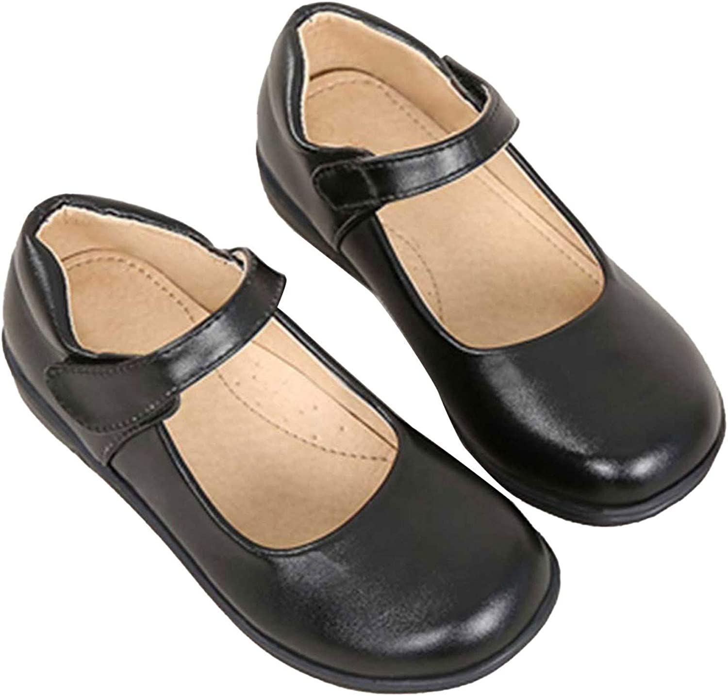 easyforever Kids Big Girls PU Leather Shoes Round Toe Rubber Sole Shoes for Dance Party Dress Performance