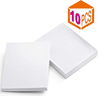 MESHA Cardboard Paper Box for Jewelry and Gift 6x5x1 Inch Thick Paper Box With Cotton Lining (White-10Pcs)
