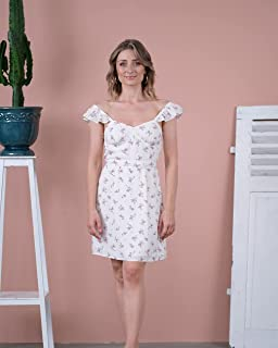 The Drop Women's Ivory Floral Print Ruffle Shoulder Lined Mini Dress by @olesjaswelt