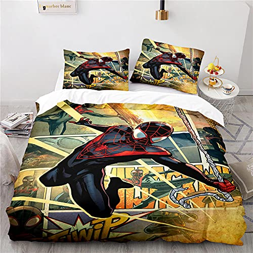 Parure Lit Ensemble De 3 Pièces Microfibre Douce avec 2 Pièces Taie d'oreiller Housse De Couette Spiderman Avengers Super Heros 155 X 220 Cm Parure De Lit Pas Cher