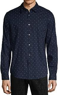 John Varvatos Star USA Men's Long Sleeve Stars Print Button Front Shirt X-Large Midnight