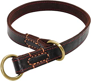 Didog - Genuine Leather P Choke Chain,Adjustable Dog Collars,Brown,Fit Meduim and Large Breeds Training,Walking