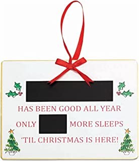 Suki Gifts Christmas Personalised Countdown Chalkboard - Wooden Advent Plaque Sleeps Til Christmas Decoration