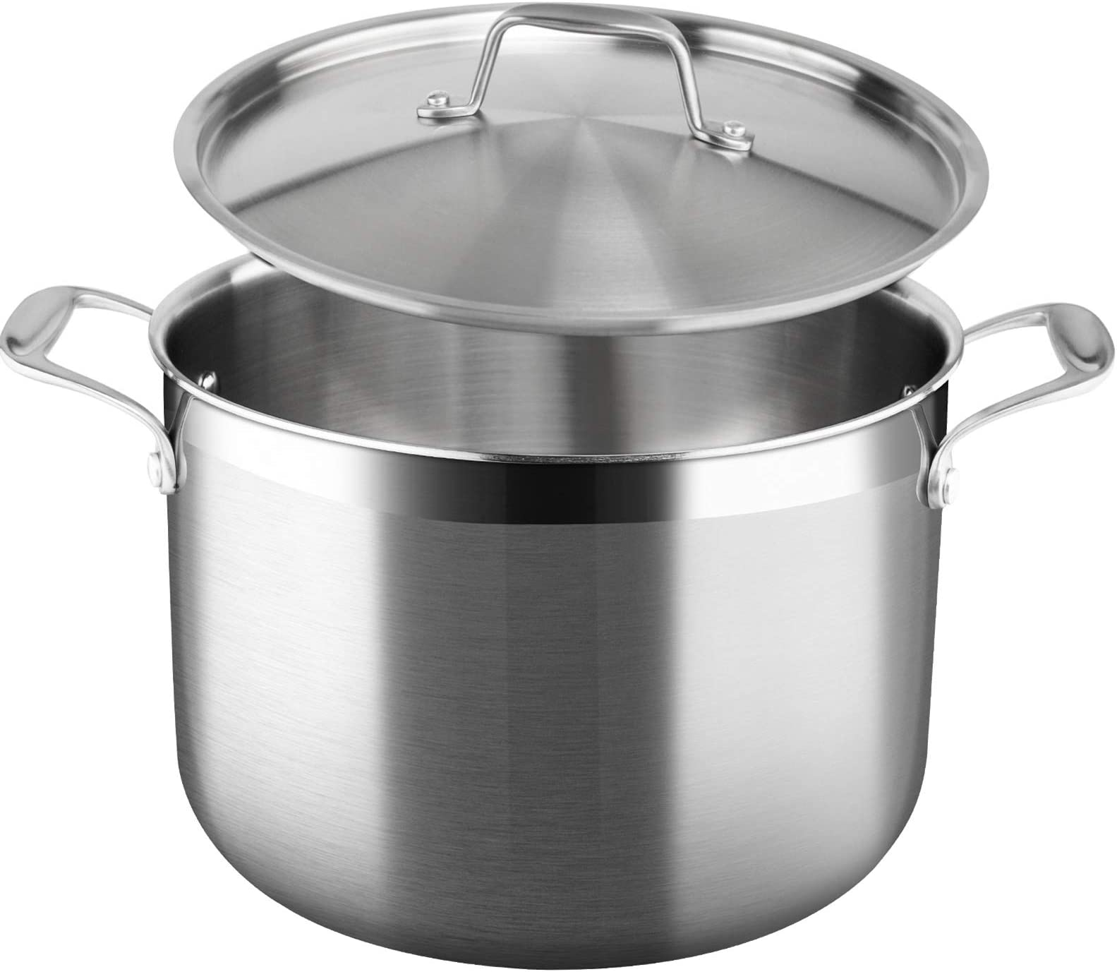 Duxtop Whole-Clad Tri-Ply Stainless Steel Stockpot with Lid, 8 Quart, Kitchen Induction Cookware