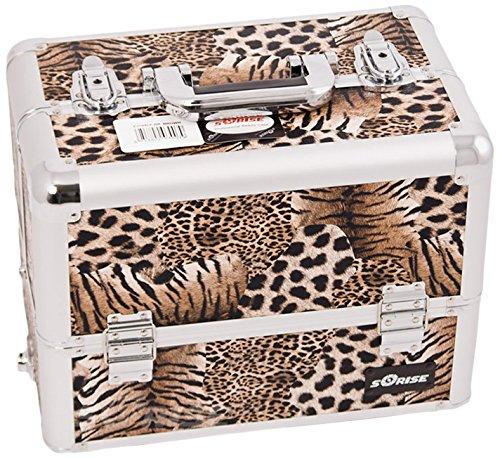 Craft Accents 6-tiers extensible bac professionnel Aluminium Cosmétique Mallette de maquillage, léopard Marron, 4 989,5 gram