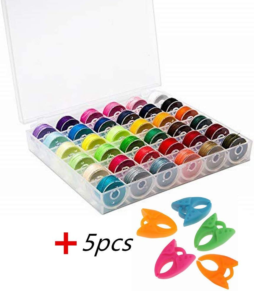 YEQIN 36Pcs Bobbins and Sewing Threads with Bobbin Case and Bobbin Clamps for Multiple Sewing Machine Janome BabyLock Sing Pre-Wound Bobbins Set Standard Size and Black Threads for Brother Elna