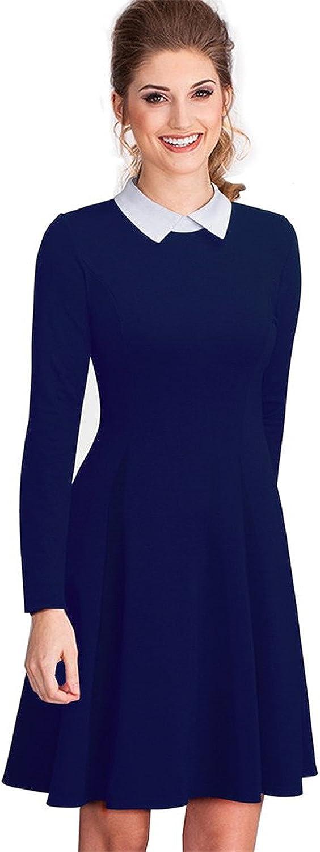 Women Formal Work Office Business Pleated Aline Dress Classic TurnDown Collar Black Dress EA016 Dark bluee L