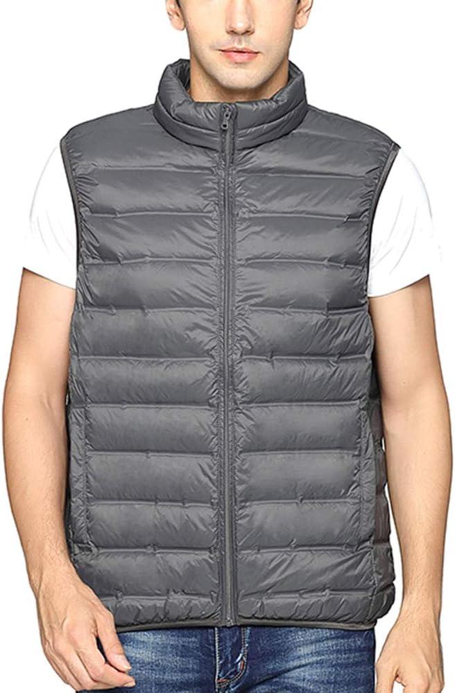 HXBH Men's Lightweight Down Vest Winter Stand Collar Warm Vest