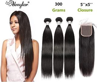 5x5 Closure and Bundles, Brazilian Straight Hair Bundles with Closure (12 14 16+10) Unprocessed Virgin Human Hair 3 Bundles with Closure Free Part 100% Human Hair Extensions