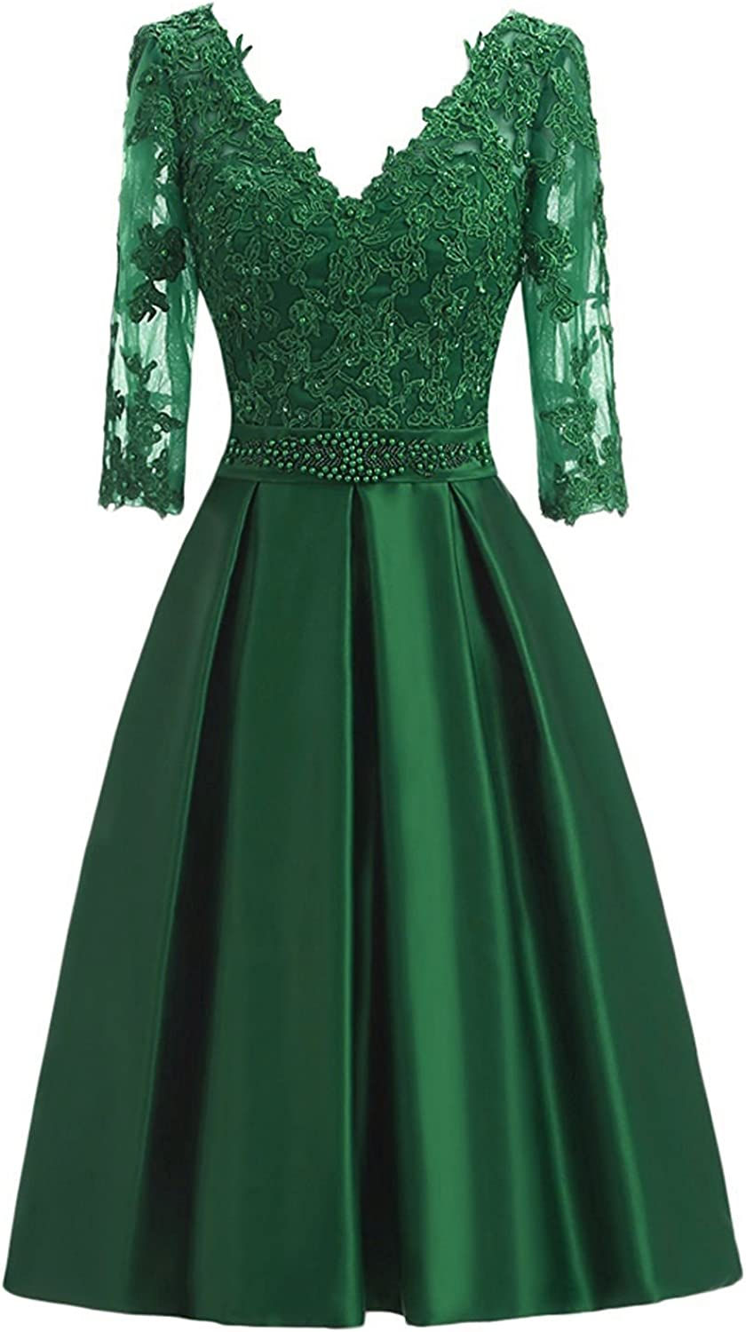 QY Bride Vintage Mother of The Bride Dresses with Half Sleeve Prom Gowns