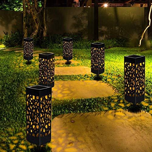 Solarleuchte Garten, Nasharia 6er Solar LED Garten Bahn Lichter Solarlampe Laterne Außenleuchte Wasserdicht IP44 LED Lichteffekt Dekoration Licht für Terrasse Rasen Garten Hinterhöfe Wege,Warmweiße