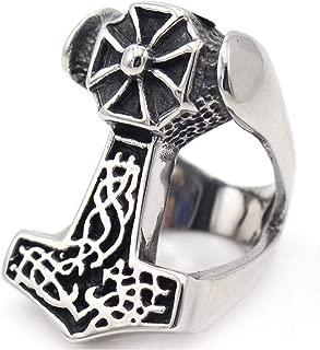 LAFATINA Men's Viking Thor's Hammer Ring, Stainless Steel God Lion Head Cross Skull Viking Norse Thunder Celtic Mjolnir Band Ring for Women Men Size 7-13