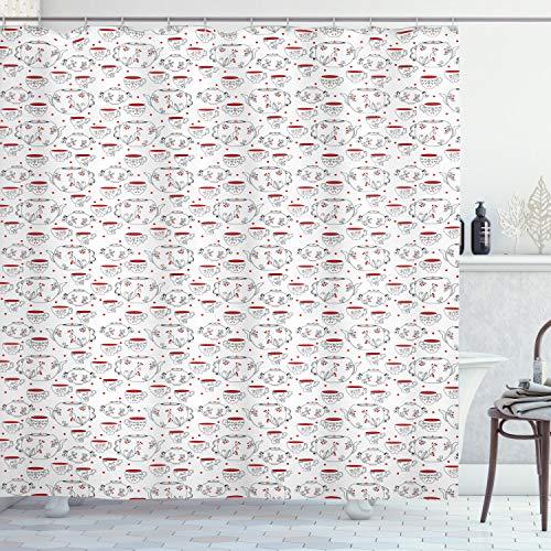 ABAKUHAUS Theekransje Douchegordijn, Doodle Style Serviesgoed, stoffen badkamerdecoratieset met haakjes, 175 x 240 cm, Rood Zwart Wit