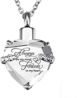 PREKIAR Heart Cremation Urn Necklace for Ashes Urn Jewelry Memorial Pendant with Fill Kit and Gift Box - Always on My Mind Forever in My Heart