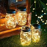 Solarlampen für außen, 30 LED Lichterkette im Glas Laterne Warmweiß, Wasserdichte Solarlaterne...
