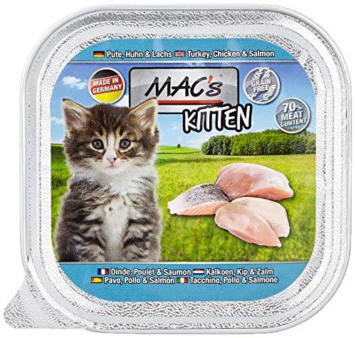 Mac's Katzenfutter getreidefrei Kitten Pute, Huhn, Lachs, 85 g, 16er Pack (16 x 85g)