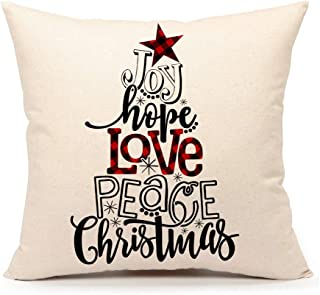 4TH Emotion Buffalo Check Christmas Saying Throw Pillow Cover Farmhouse Cushion Case for Sofa Couch 18x18 Inches Cotton Linen (Joy, Hope, Love, Peace, Christmas)