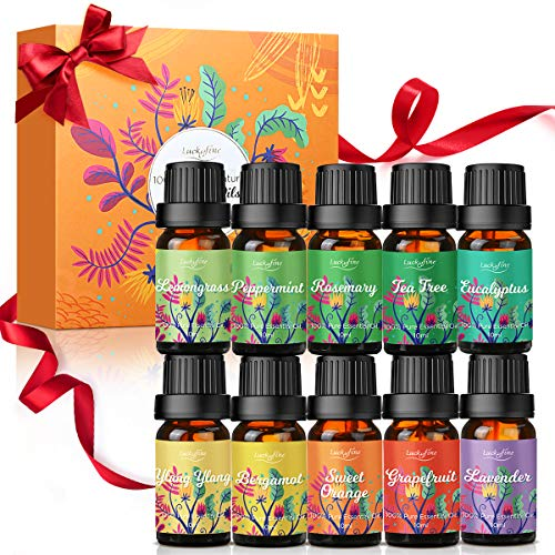 Huiles Essentielles Aromathérapie de Luckyfine, Naturelles et 100% Pures 10 * 10ml, Huiles Essentielles Bio Luckyfine Pour Diffuseur Lavande, Orange, Menthe, citronnelle.