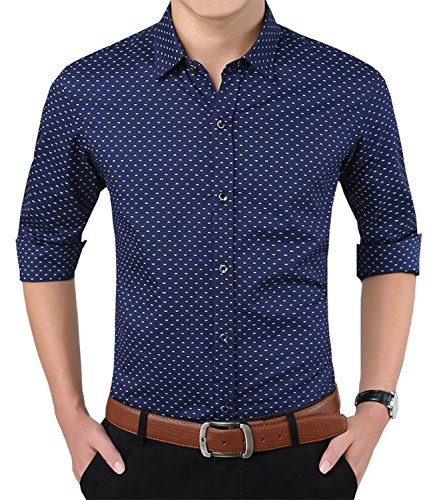 YTD Mens 100% Cotton Casual Slim Fit Long Sleeve Button Down Printed Dress Shirts US M Navy Blue