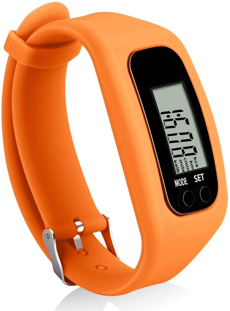 Bomxy Fitness Tracker Watch ,Simply Operation Walking Running Pedometer with Calorie Burning and Steps Counting Easy use Step Tracker (Orange-6vsp) : Sports & Outdoors