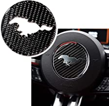 Real Carbon Fiber Steering Wheel Trims Interior Wheel Cover Decoration for Ford Mustang 2016-2019