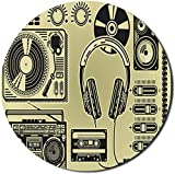 Star Heaven Hip Hop Mouse Pad for Computers, Electronic Music Devices as Turntable Headphones Speaker for Recording, Round Non-Slip Thick Rubber Modern Gaming Mousepad, 8' Round, Yellow Black