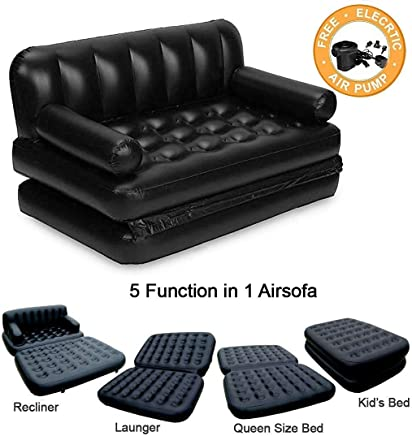 HSR 5 in 1 Inflatable 3 Seater Queen Size Sofa Cum Bed with Pump