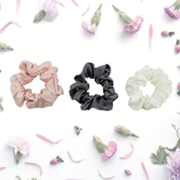Celestial Silk Mulberry Silk Scrunchies for Hair (Large, Charcoal, Pink, Ivory)