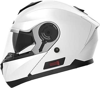 Motorcycle Modular Full Face Helmet DOT Approved - YEMA YM-926 Motorbike Moped Street Bike Racing Crash Helmet with Sun Visor for Adult, Men and Women - White,Small