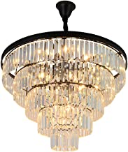 LED, Retro, Crystal, Chandelier, Guest, Dining Room, Bedroom Light, Black Ceiling Light (Size : 60x43cm)